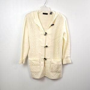 Karen Scott  Ivory  Cardigan Hooded Sweater